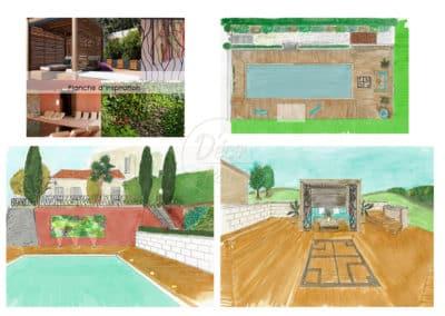Proposition d'aménagement autour d'une piscine dans les Landes-Chateau Montgaillard-Menuiserie-Feugas-D'éco Pau